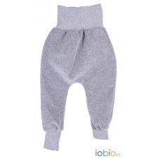 Pantaloni Crawlers grigio in ciniglia di cotone biologico