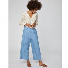 Pantaloni Crop Samara in cotone biologico Chambray