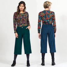 Pantaloni Cropped in Velluto di Cotone Equosolidale