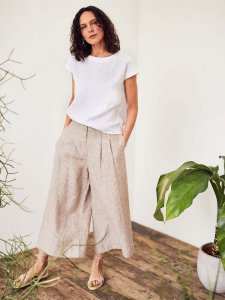 Pantaloni culottes ISABEL da donna in pura canapa