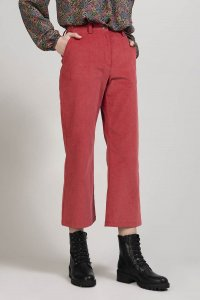 Pantaloni SAGUARO da donna in velluto rosso chiaro, moda etica e sostenibile