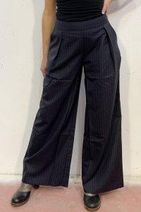 Pantaloni TUNDRA gessato blu in Lana e Mohair, moda etica e sostenibile