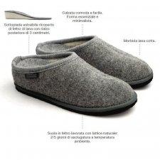 Pantofola Diva con tacco Grigio Ghiaccio in feltro di lana