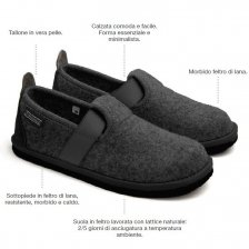 Pantofola Glee Antracite in feltro di lana