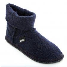 Pantofole a Stivaletto in pura lana cotta BLU