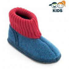 Pantofole a Stivaletto per Bambini in lana cotta BLU ROSSO
