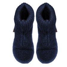 Pantofole blu scuro in lana biologica unisex alte