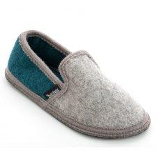 Pantofole chiuse in pura lana cotta Bicolore Grigio Verde Giada