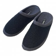 Pantofole in pura lana cotta Bicolore Nero Grigio