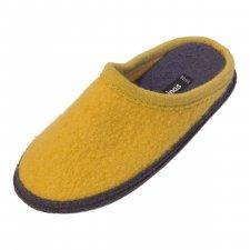Pantofole in pura lana cotta Bicolore Senape Grigio