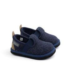 Pantofole Muvy blu per bambini e ragazzi in feltro di lana