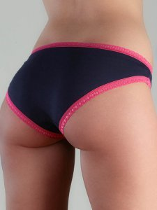 Panty bicolor with lace in organic cotton