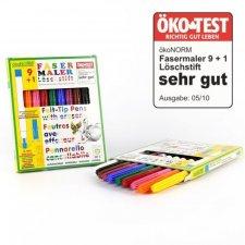 Pennarelli 9 colori + 1 cancellino ÖKO-TEST very good