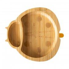 Piatto Coccinella in legno di Bamboo con ventosa