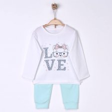 Pigiama Bambina Love Cat in cotone biologico
