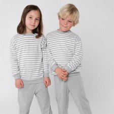 Pigiama bambini unisex a righe grigie in cotone biologico