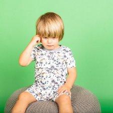 Pigiama corto Palme per bambino in cotone biologico