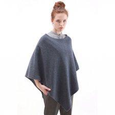 Poncho donna in feltro di lana merino