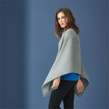 Poncho Doroty in wool and organic cotton