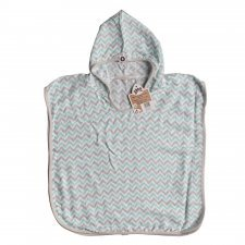 Poncho Mint striped in bamboo muslin