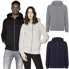 Pullover zip-up hoody unisex in organic cotton