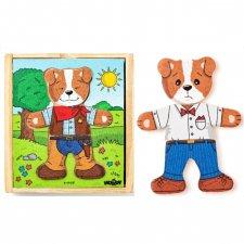 Puzzle cagnolino da vestire in legno