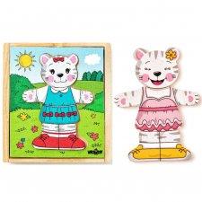 Puzzle gattina da vestire in legno