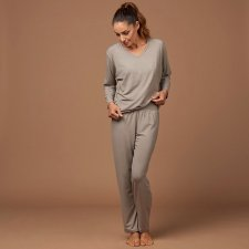 Pyjamas for woman Taupe in natural fabric