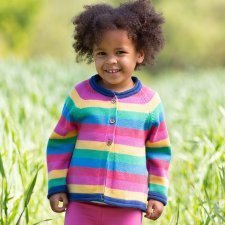 Rainbow cardi in organic cotton for baby girls