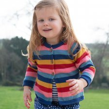 Rainbow striped cardigan in organic cotton