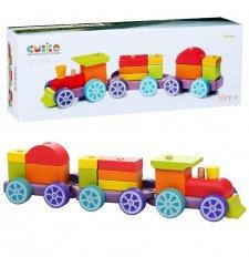 Rainbow wooden toy train