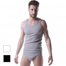 Ribbed 100% cotton men's tank top