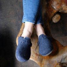 Pantofola Sabot Belt Jeans in feltro di lana