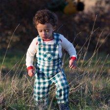Salopette a scacchi blu per bambino in flanella di cotone biologico