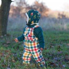 Salopette a scacchi colorati per bambino in flanella di cotone biologico