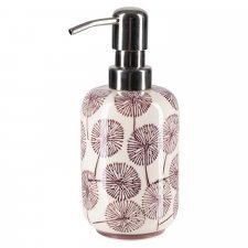 SAMIRA liquid soap dispenser in hand-painted glazed ceramic