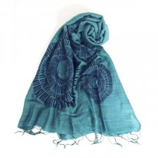 Scarf with Blue Green print in Viscose and Silk Faitrade