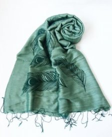 Forest green scarf with print in viscose and silk Fairtrade