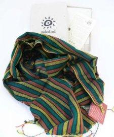 Sciarpa artigianale a telaio Righe Verde in puro cotone Equo Solidale