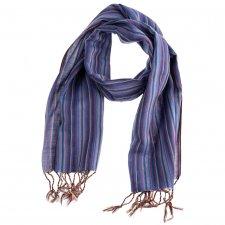 Sciarpa artigianale a telaio Righe Viola in puro cotone Equo Solidale