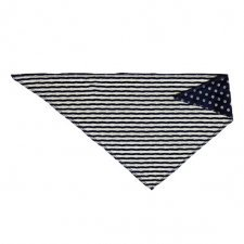 Sciarpina triangolo bavaglino bandana Blu scuro pois e righe beige