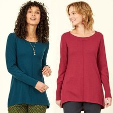 Scoop Hem Merino Wool and fairtrade cotton Jumper