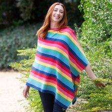 Rainbow poncho in organic cotton