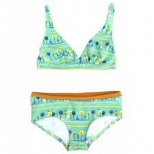 Set bra and brief in organic cotton Trees and Horses