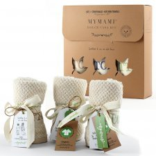 Set of 3 tea towels in organic cotton terry