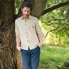 Shirt long sleeve in linen and organic cotton