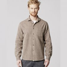 Shirt man melange in hemp and organic cotton