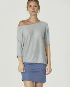 Shirt with batwing 7/8 sleeves in organic cotton and hemp