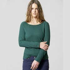 Shirt woman long sleeve with applications in hemp and organic cotton