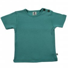 Short sleeve shirt in organic cotton Turquoise